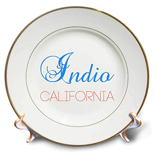 (3dRose Alexis Design - American Cities California - Indio, California, red, Blue Text. Patriotic Home Town Design - 8 inch Porcelain Plate (cp_302341_1))