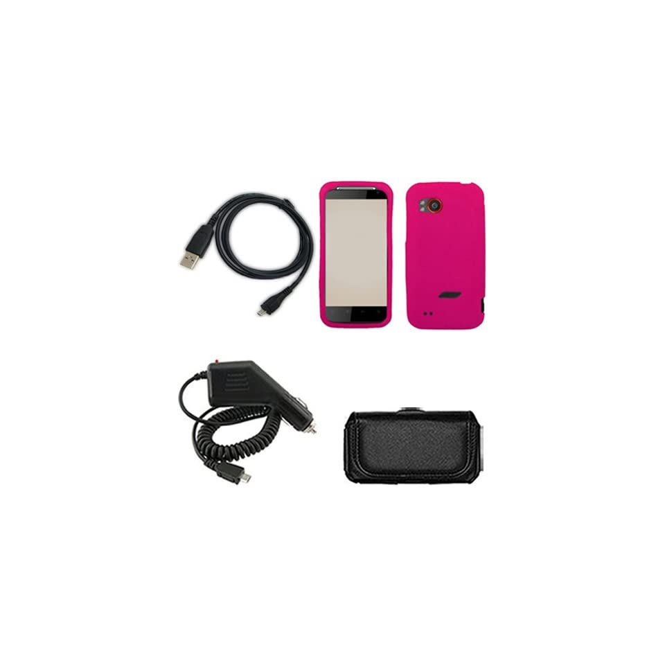 iFase Brand HTC Vigor ADR6425 Combo Solid Hot Pink Silicone Skin Case