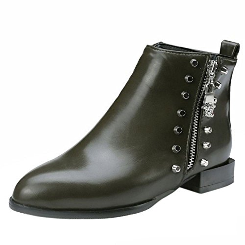 COOLCEPT Damen Mode Low Flach Ankle Stiefel With Zipper 32 Green