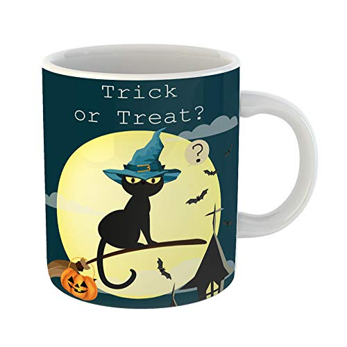 Emvency Coffee Tea Mug Gift 11 Ounces Funny Ceramic Halloween Cat Witches Broomstick Flying on Sky and Trick Treat Text Gifts For Family Friends Coworkers Boss Mug ()