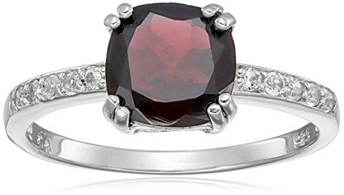 Sterling Silver Garnet Ring, Size 8