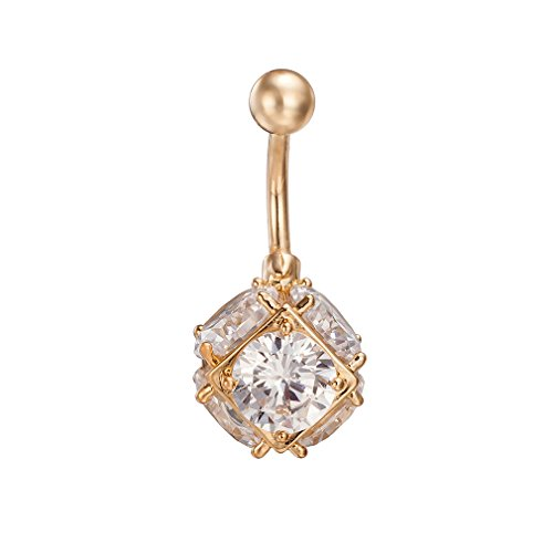 Surgical Steel 14Gauge 14K Gold Belly Button Navel Rings for Women Girls Cubic Zirconia Piercing Dangle