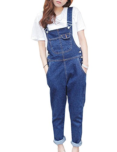 Petos Vaqueros De La Mujer Overalls Denim Jeans Strench Pantalones Tirantes Azul