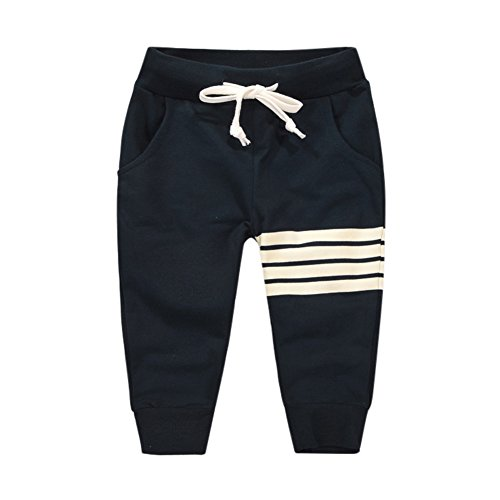Loveble Little Kids Boys Spring/Summer/Autumn Cotton Stripe Printed Full Length Pant Age 1-10 Years(Dark Blue)