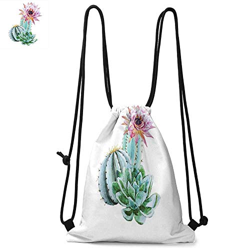 Cactus Portable drawstring backpack Cactus Spikes Flower in Hot Mexican Desert Sand Botanical Natural Image For the gym W13.8 x L17.7 Inch Pink Green and Blue