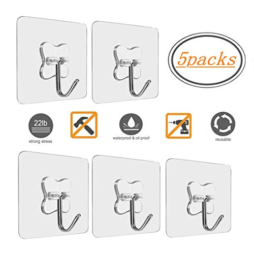 MOKARO Wall Adhesive Heavy Duty Hooks - Value Pack 5 Packs Large Utility Hooks Without Nails,Clear Hanging Hooks Value Pack for Kitchen Bathroom Office Decorations