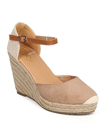 Refresh DI93 Women Mix Media Cap Toe Ankle Strap Espadrille Wedge - Taupe (Size: 8.0)