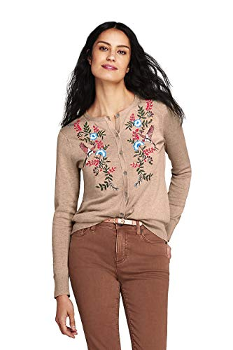 Lands' End Women's Petite Supima Cotton Embroidered Cardigan Sweater, XS, Dark Fawn Heather Embroidered