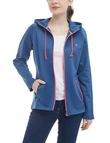 Little Donkey Andy Women's Full Zip Hoodie, Fleece Lined Workout Running Jacket, Thermal Hooded Sweatshirt, Quick Dry and Breathable Blue Size XS (Spandex Thermal Sweatshirt)