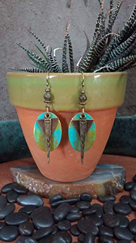 Patina Earrings, Mixed Metal Earrings w/Labradorite Gemstone, Powerful Woman, Protection, Spiritual ()