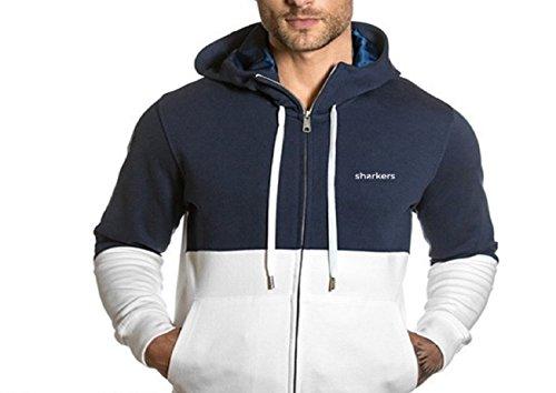 Weißes and blaues Kapuzen-Sweaterfür Mann Sharkers®