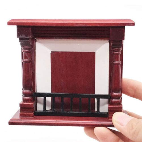 EatingBiting(R) 1:12 Dollhouse Miniature Furniture Room Wooden Vintage Red Fireplace Room Vintage Fireplace, 1/12 Fairy Landscape, Handmade Craft Gift Vivid Design Home Decoration Mini Wood Fireplace