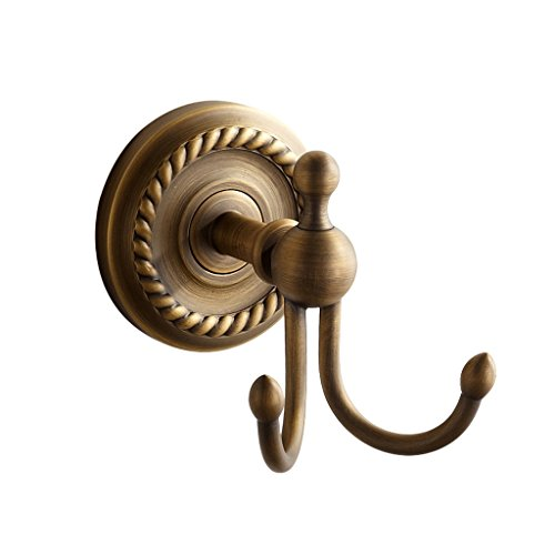 Marmolux Acc Brass Double Hook Morocc Series Wall Mount, For Robe, Towel & Clothes – Corrosion & Discoloration Resistant – With Screw Fittings - Antique Brushed Bronze Finish