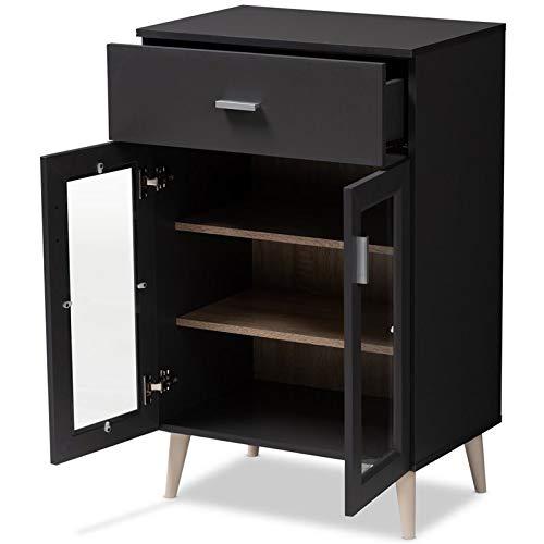 Baxton Studio Jonas Server Cabinet in Dark Grey and Oak Brown by Baxton Studio (Image #2)