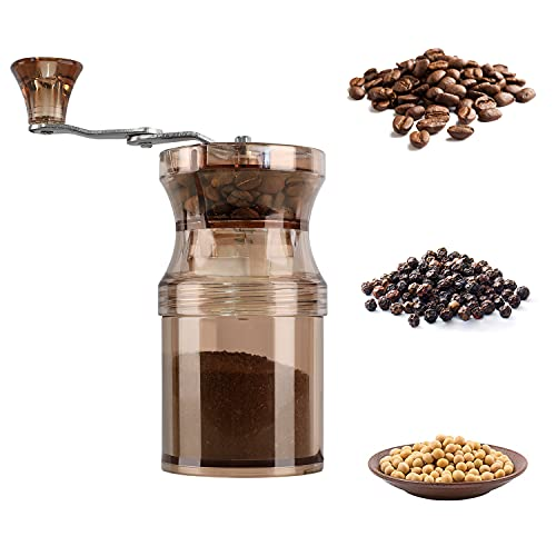 Manual Coffee Grinder, Adjustable Ceramics Burr Mill Wheel with 9 Grinder Setting for Aeropress, Drip Coffee, Espresso, French Press, Turkish Brew Portable Hand Bean Grind for Home Travel, Camping