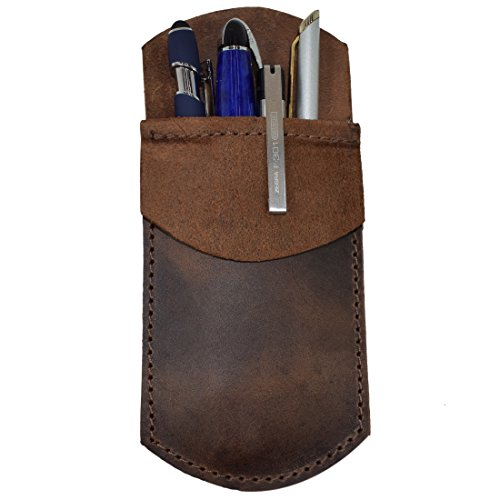 Durable Leather Pocket Protector/Pencil Pouch/Office & Work Essentials Pen Holder Handmade by Hide & Drink :: Bourbon Brown