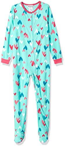 Komar Kids Girls' Big Plush Velour Fleece Footed Blanket Sleeper Pajama, Mint Hearts, Extra Small