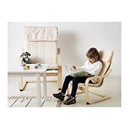 Ikea Poäng Children\'s Armchair, Birch Veneer, Almås Natural