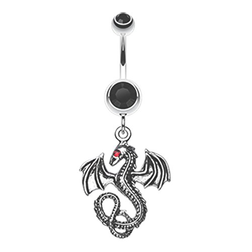 Ring Butterfly Black Belly (Jeweled Eye Dragon Navel Belly Button Ring 316L Surgical Steel Size 14GA 3/8