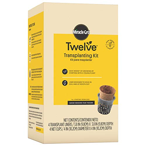 Miracle-Gro Twelve Transplanting Kit | Includes 4 Coir Liners & 4 Large Net Cups | Specially Designed for Growing Plants in Hydroponic Systems | Grow Young Plants Started in Soil