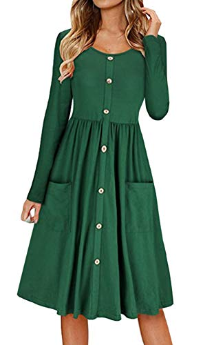 Primavera y Otoño Mujeres Midi Vestido con Botón Casual Cuello Redondo Manga Larga A-Line Vestido de Playa Moda Plisado Vestidos de Partido Cóctel Eventos Verde