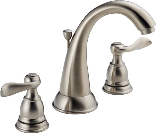 Widespread 2 Handle - Delta Faucet Windemere 2-Handle Widespread Bathroom Faucet with Metal Drain Assembly, Stainless B3596LF-SS