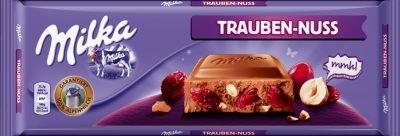 Milka Trauben Nuss 300g (Milk Chocolate w/ Nuts and Raisins 10.6oz)