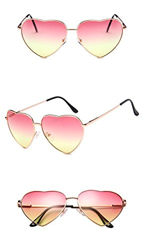 Chezi Women's Metal Colorful Tinted Lens Heart Sunglasses (gold, - Frame Heart Wire Sunglasses