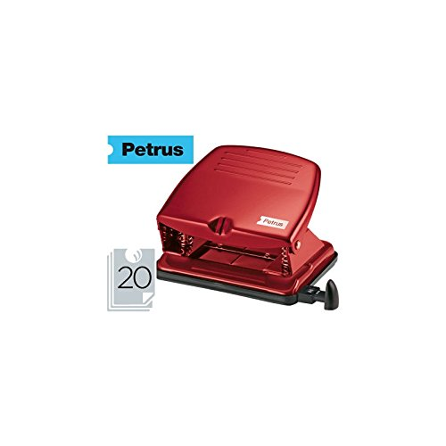 Petrus Cl/ásico Perforadora met/álica Retro 33740 20 hojas 52 Rojo
