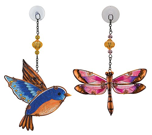 Regal Art & Gift Suncatchers, Pink Dragonfly & Blue Bird Glass Sun Catcher for Home, Garden, Window and Wall Art ()