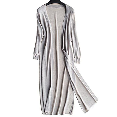 (ボラ-キキ) Bole-kk レディース ロング カーディガン 薄手 ポケット付き UVカット シンプル 無地 長袖 羽織り 冷房対策 上品 通勤 通学