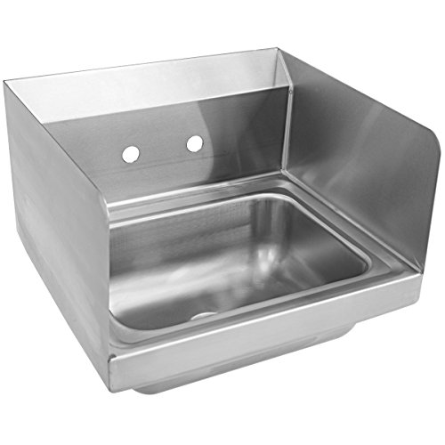 Giantex Stainless Steel Hand Washing Sink with Wall Mount Faucet & Side Splashes NSF Commercial Kitchen Heavy Duty Hot & Cold Temperature Water Inlet Washing Basin, Silver by Giantex (Image #7)