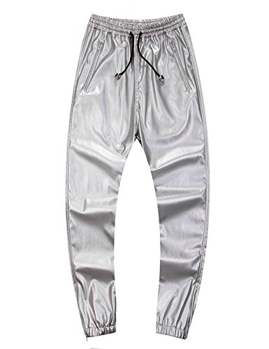 Silver Jogger (Idopy Men`s Leather Joggers Pants With Drawstring 32 Silver)