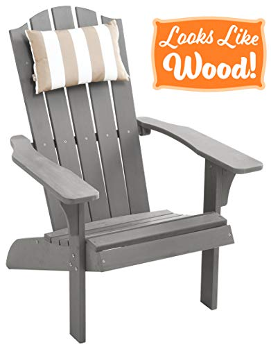 PolyTEAK Element Faux Wood Poly Adirondack Chair with Detachable Head Pillow, Gray | Adult-Size, Weather Resistant, Made from Special Formulated Poly Lumber Plastic (Adirondack Plastic Chairs Gray)