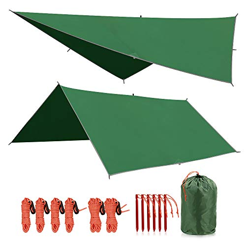 - REDCAMP 10x10ft Camping Tent Tarp PU2000mm Waterproof, Lightweight Rain Fly for Outdoor Hiking Backpacking,Green