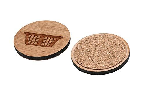 WOODEN ACCESSORIES CO Wooden Coaster Set With Laser Engraved Hamper Design - Set of 4 Laser Cut Coasters - Cherry Wood Round Wooden Coasters - Made In The ()
