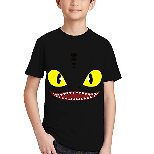 God Sweet Boys How to Train Your Dragon Tttyd T Shirt Toothless Night Fury Dragon Kids Short Sleeve Shirt (8, ()