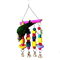 PetCee Colorful Wiggles Chew Swing Toy For Birds 13.8x5.9 Inch