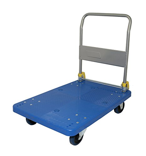 Mighty Lift FD300 Single Level Folding Platform Truck, 2 Swivels and 2 Rigids, Net Weight 36 lb, 660 lb Capacity, 24