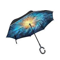 ALAZA Vincent Van Gogh Nebula Galaxy Windproof UV Proof Reverse Folding Umbrella, Double Layer Travel Inverted Umbrella with C Shape Handle for Car Use