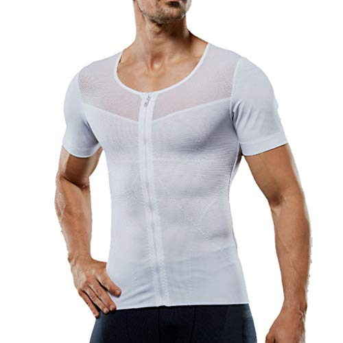 AKwell Men's Summer Casual Bodybuilding Sport Shapewear Polo Shirt Mesh Zipper Abdomen Short Sleeve Corset White ()