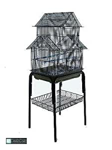 BLACK PRIORY PALACE BIRD CAGE AND STAND