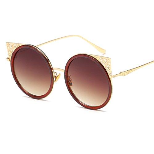 Soleil Gold de de Lunettes YANJING de Couleur brown Soleil Ears pour Soleil Lunettes Soleil UV Gravure Femmes Mode Lunettes Cat Lunettes ZYXCC de n4q08gn1