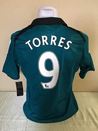 039eb5313a5 Retro Fernando Torres 9 Liverpool Away Soccer Jersey 2007 Full Premier Patch  (Green
