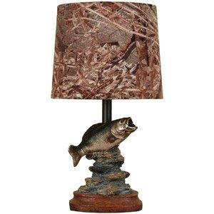 Mossy Oak Fish Accent Lamp Dark Woodtone Camo shade