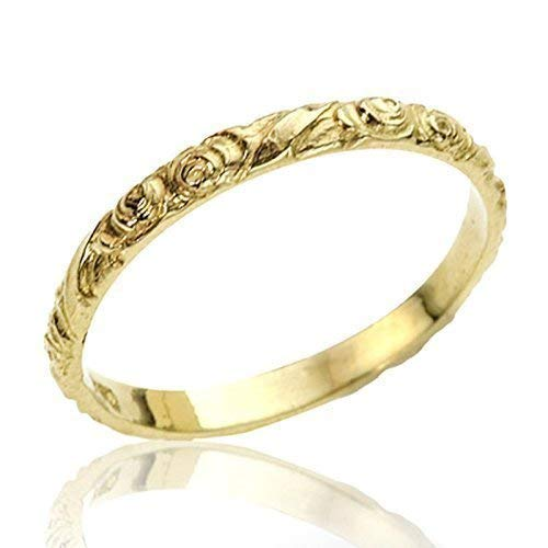 (Handmade Vintage Style Floral Engraved 14k Yellow Gold Wedding Band Unique Designer Stackable Ring SIZE 5)