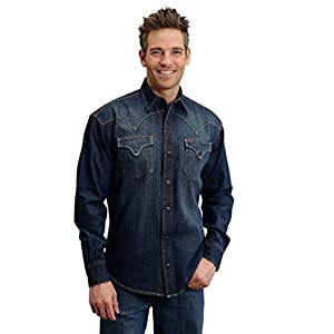 Stetson Denim Shirt Yellowith Orange Stitching Men146s Collection- Original Rugged