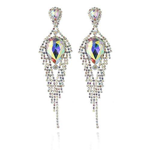 Clip On Tear Drop Glam Cascade Fashion Earrings in Silver Iridescent ()