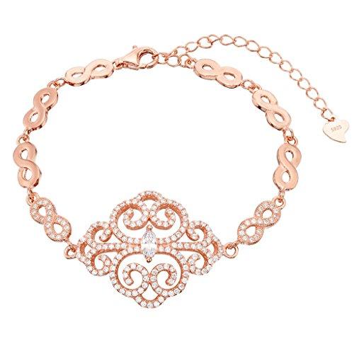 (EVER FAITH 925 Sterling Silver Rose Gold-Tone CZ Art Deco Filigree Figure 8 Infinity Link Bracelet)