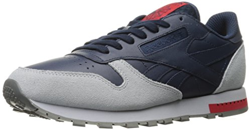Reebok Men CL Leather Grey Fashion Sneaker Collegiate Navy/Cloud Grey/Alloy/Primal Red